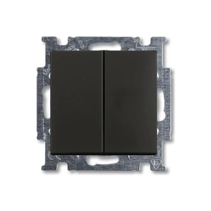 Переключатель ABB двухклавишный Basic55 10A 250V chateau - черный (2CKA001012A2181)