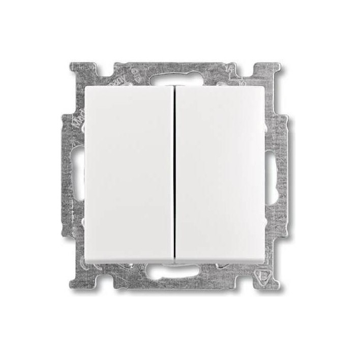 Переключатель ABB двухклавишный Basic55 10A 250V альпийский белый (2CKA001012A2144)