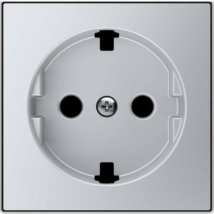 Лицевая панель ABB Sky розетки Schuko с/з серебристый алюминий (2CLA858890A1301)