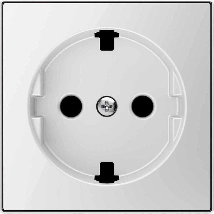 Лицевая панель ABB Sky розетки Schuko с/з стекло белое (2CLA858890A2101)