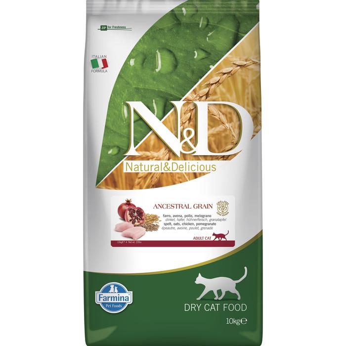 Сухой корм Farmina N&D Adult Cat LG Chicken & Pomegranate низкозерновой с курицей и гранатом для кошек 10кг