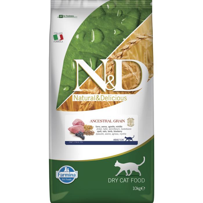 Сухой корм Farmina N&D Adult Cat LG Lamb & Blueberry низкозерновой с ягненком и черникой для кошек 10кг