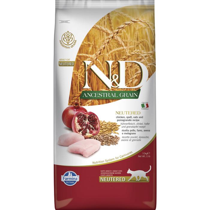 Сухой корм Farmina N&D Neutered Cat LG Chicken & Pomegranate низкозерновой с курицей и гранатом для стерилизованных кошек 10кг