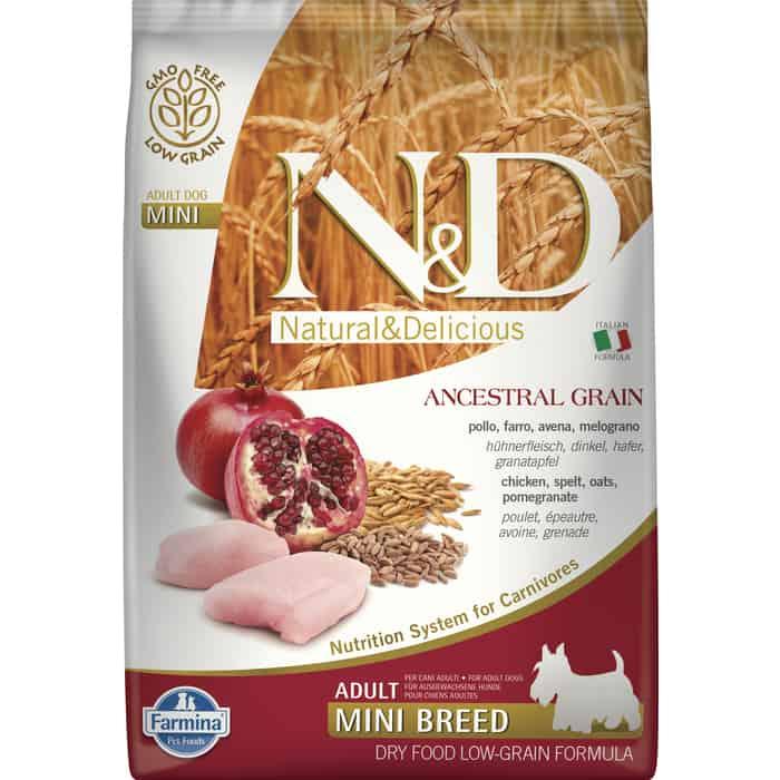 Сухой корм Farmina N&D Adult Dog Mini LG Chicken & Pomegranate низкозерновой с курицей и гранатом для собак мелких пород 7кг