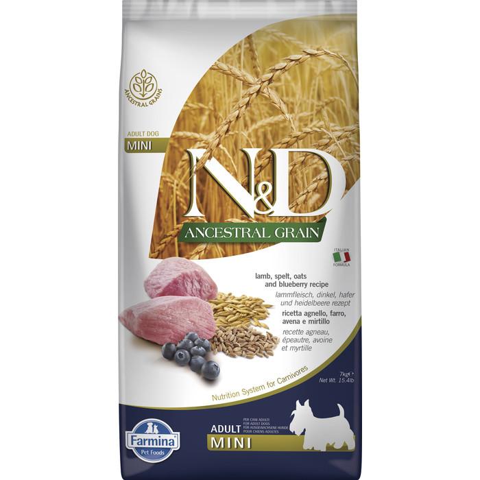 Сухой корм Farmina N&D Adult Dog Mini LG Lamb & Blueberry низкозерновой с ягненком и черникой для собак мелких пород 7кг