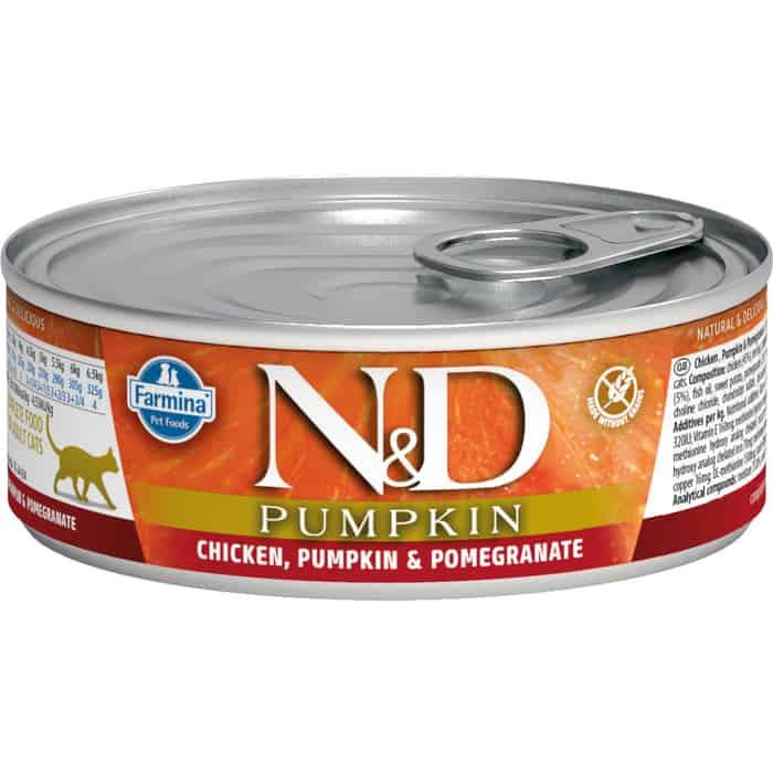 Консервы Farmina N&D Adult Cat GF Pumpkin Chicken, & Pomegranate беззерновой с курицей, тыквой и гранатом для взрослых кошек 80г