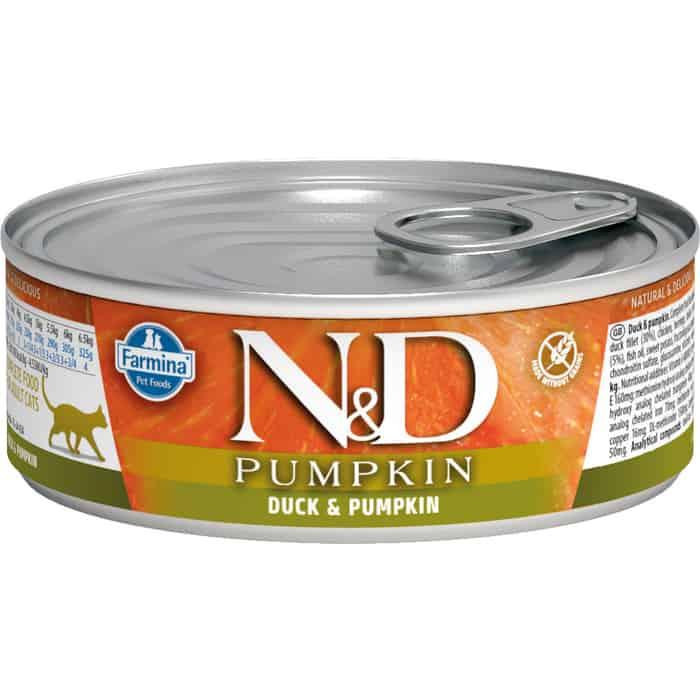 Консервы Farmina N&D Adult Cat GF Pumpkin Duck & беззерновой с уткой и тыквой для взрослых кошек 80г