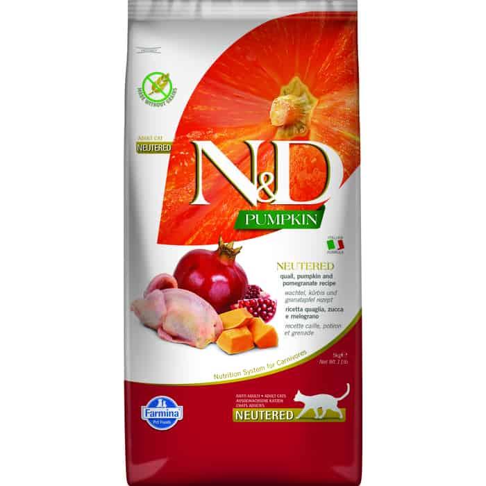 Сухой корм Farmina N&D Neutered Cat GF Pumpkin Quail & Pomegranate беззерновой с перепелкой гранатом тыквой для стерелизованных кошек 5кг