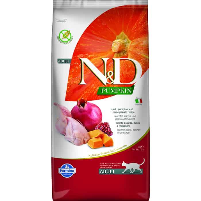 Сухой корм Farmina N&D Adult Cat GF Pumpkin Quail & Pomegranate беззерновой с перепелкой гранатом и тыквой для кошек 5кг