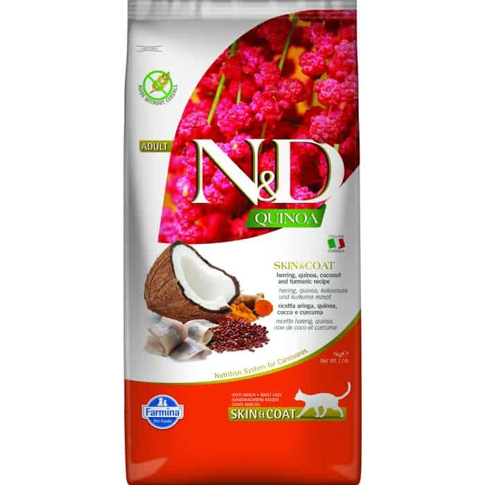 Сухой корм Farmina N&D Cat GF Quinoa Skin & Coat Herring Coconut Turmeric беззерновой с сельдью киноа кокосом и куркумой для кошек 5кг