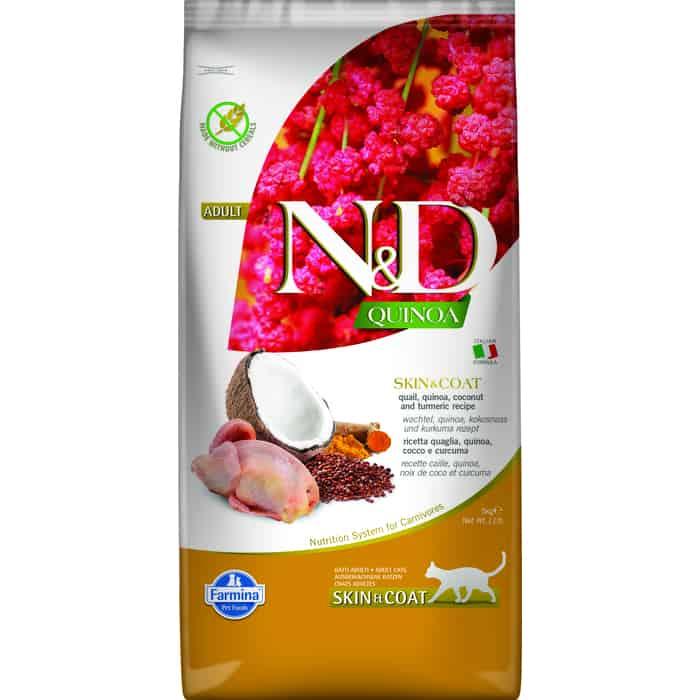 Сухой корм Farmina N&D Cat GF Quinoa Skin & Coat Quail Coconut Turmeric беззерновой с перепелкой киноа кокосом и куркумой для кошек 5кг