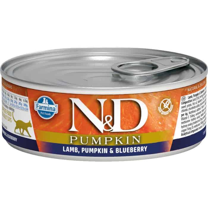 Консервы Farmina N&D Adult Cat GF Pumpkin Lamb, & Blueberry беззерновой с ягненком, тыквой и черникой для взрослых кошек 80г