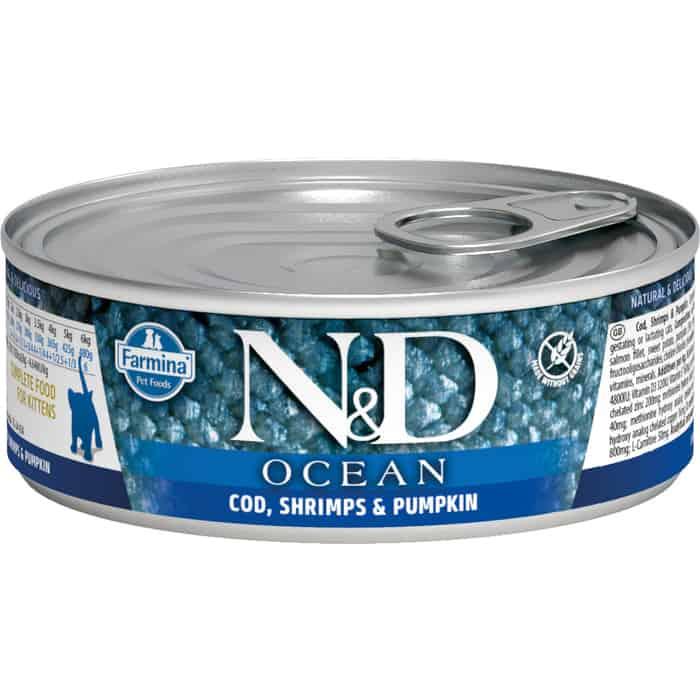 Консервы Farmina N&D Kitten Ocean Cod, Shrimp & Pumpkin c треской, креветками и тыквой для котят 80г