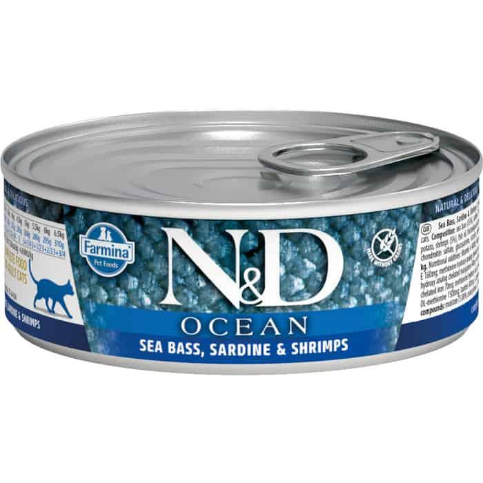 Консервы Farmina N&D Adult Cat Ocean Sea bass, Sardine & Shrimp сибасом, сардиной и креветками для взрослых кошек 80г