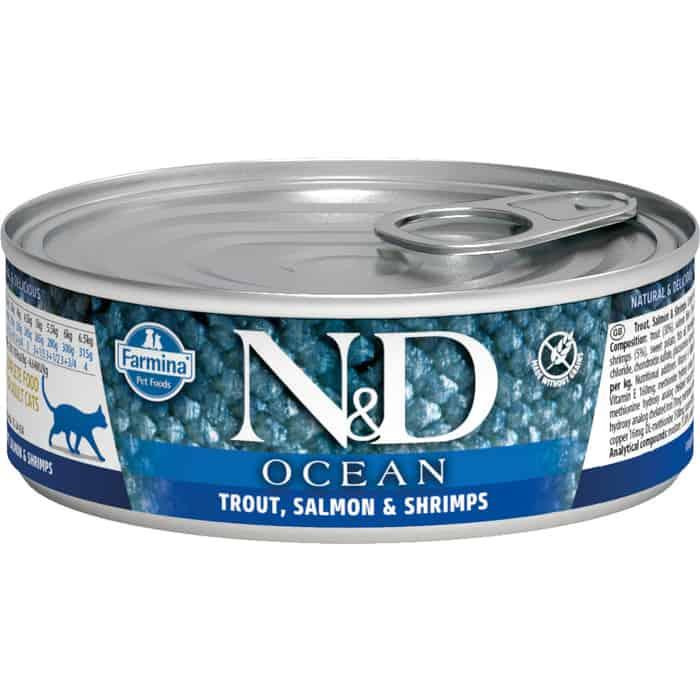 Консервы Farmina N&D Adult Cat Ocean Trout, Salmon & Shrimp с форелью, лососем и креветками для взрослых кошек 80г
