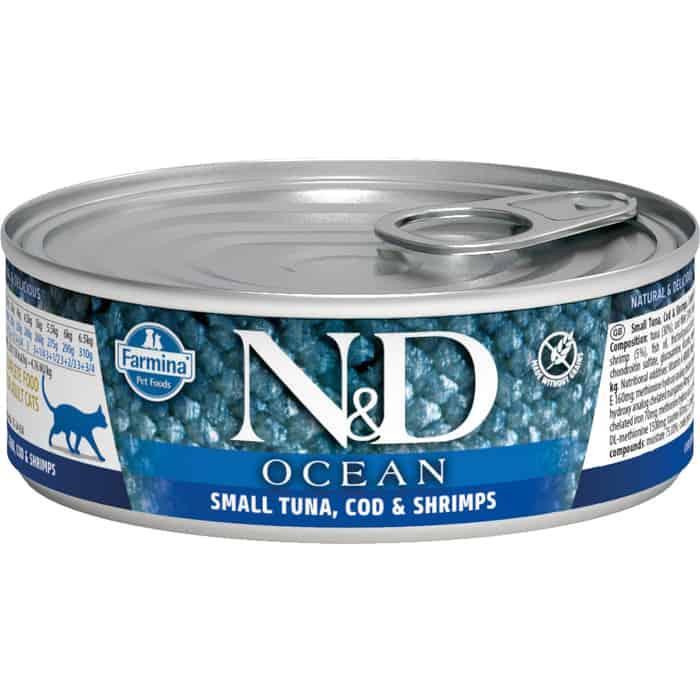 Консервы Farmina N&D Adult Cat Ocean Tuna & Shrimp с тунцом и креветками для взрослых кошек 80г