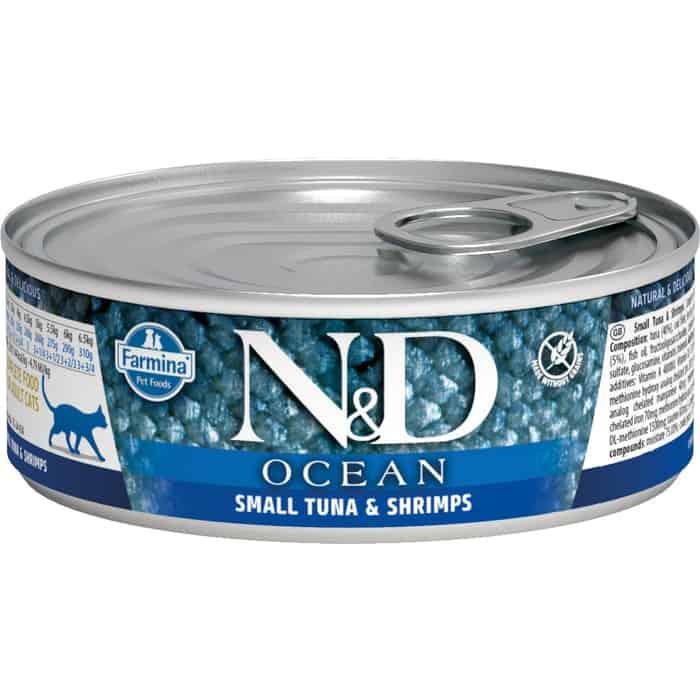 Консервы Farmina N&D Adult Cat Ocean Tuna, Cod & Shrimp с тунцом, треской и креветками для взрослых кошек 80г