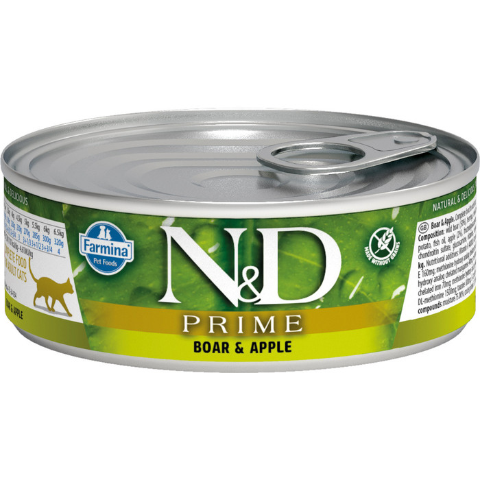 Консервы Farmina N&D Adult Cat GF Boar & Apple беззерновой с мясом кабана и яблоком для взрослых кошек 80г