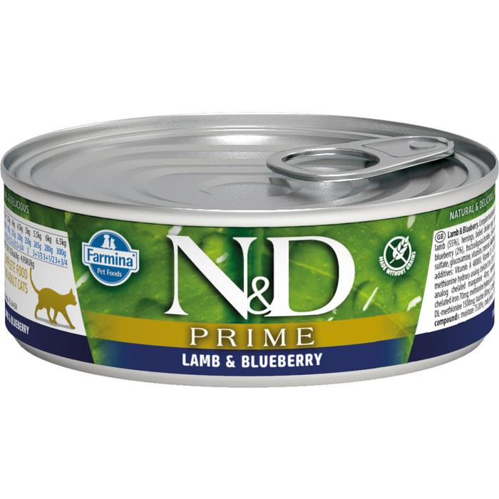 Консервы Farmina N&D Adult Cat GF Lamb & Blueberry беззерновой с ягненком и черникой для взрослых кошек 80г