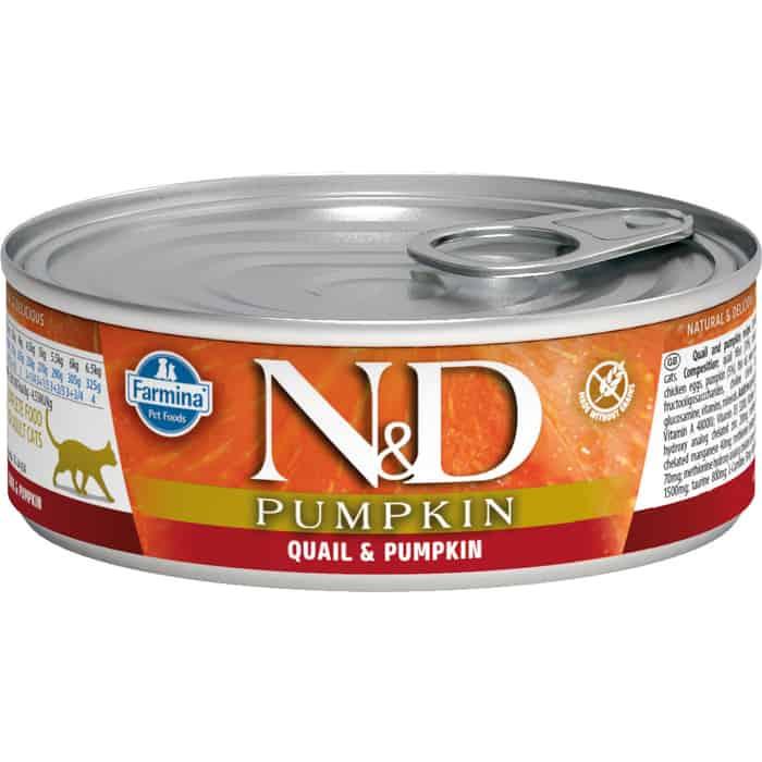 Консервы Farmina N&D Adult Cat GF Pumpkin & Quail беззерновой с перепелом и тыквой 80г