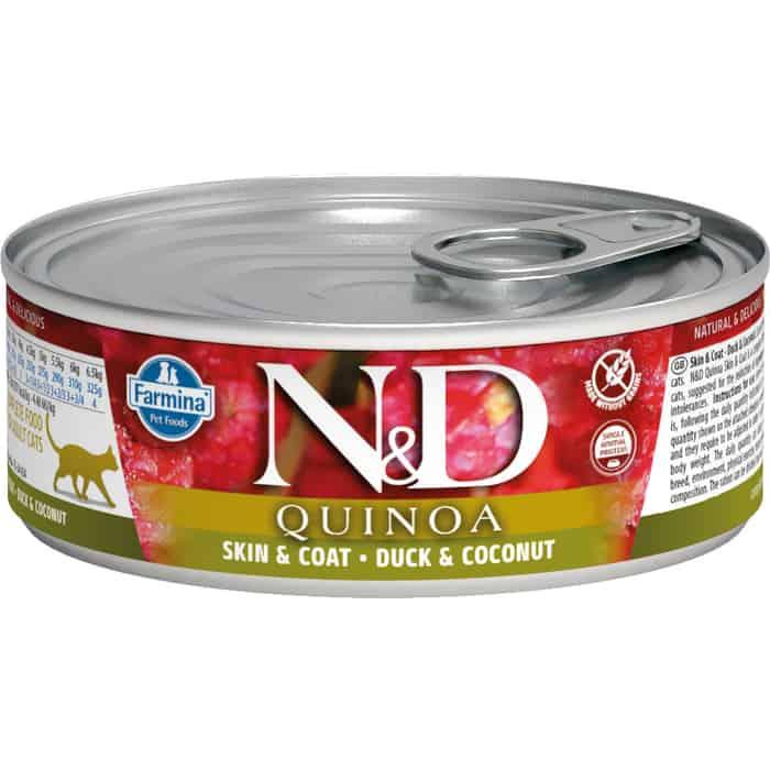 Консервы Farmina N&D Adult Cat GF Quinoa Duck & Coconut беззерновой с уткой, киноа и кокосом для здоровья кожи блеска шерсти 80г