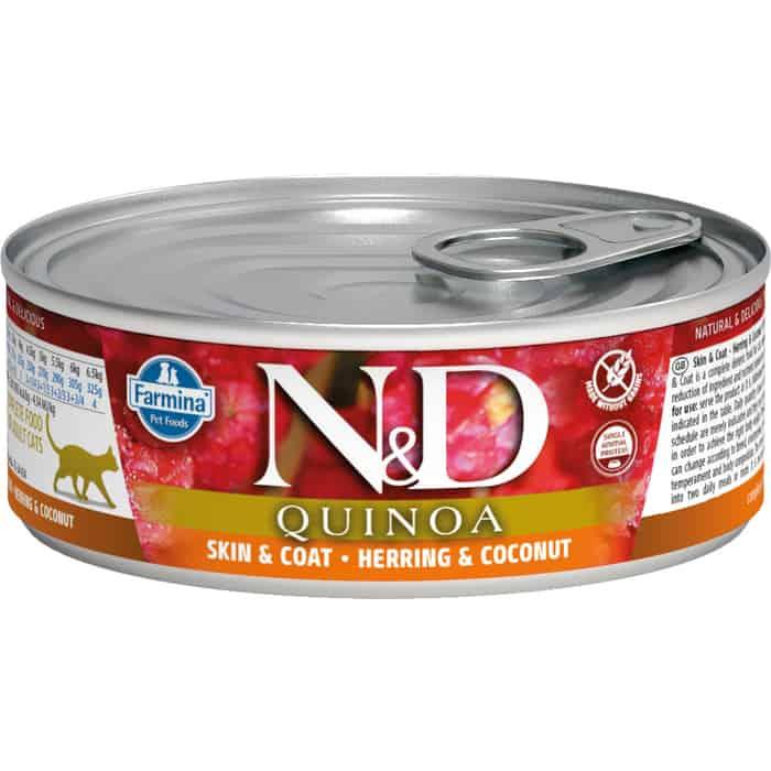 Консервы Farmina N&D Adult Cat GF Quinoa Herring & Coconut беззерновой с сельдью, киноа и кокосом для здоровья кожи блеска шерсти 80г