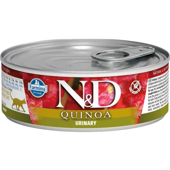 Консервы Farmina N&D Adult Cat GF Quinoa Urinary Duck беззерновой с уткой для профилактики МКБ 80г