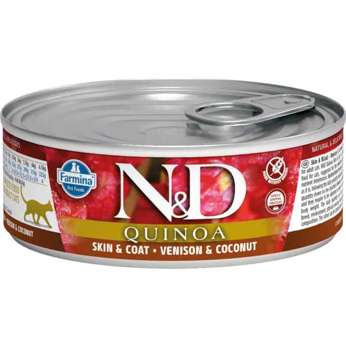 Консервы Farmina N&D Adult Cat GF Quinoa Venison & Coconut беззерновой с олениной, киноа и кокосом для здоровья кожи блеска шерсти 80г