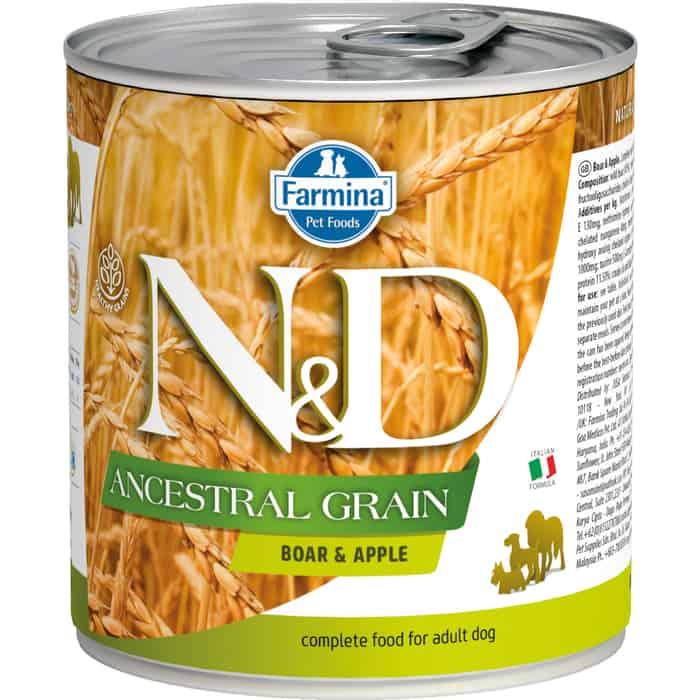 Консервы Farmina N&D Adult Dog LG Boar& Apple низкозерновой с мясом кабана и яблоком для собак мелких пород 285г