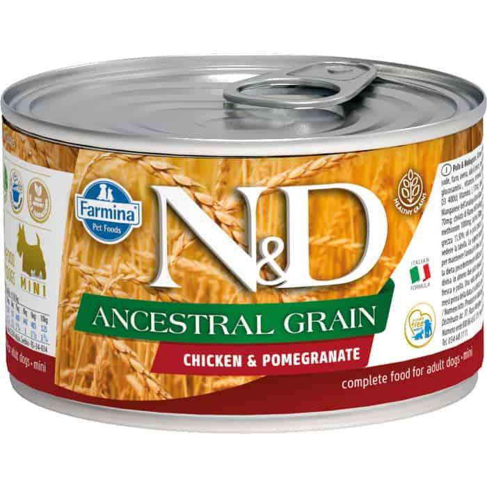 Консервы Farmina N&D Adult Dog LG Chicken & Pomegranate низкозерновой с курицей и гранатом для собак мелких пород 140г