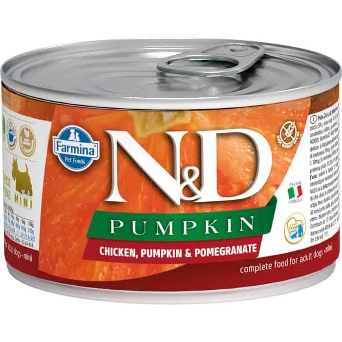 Консервы Farmina N&D Adult Dog Chicken, Pumpkin & Pomegranate беззерновой с курицей, тыквой и гранатом для взрослых собак мелких пород 140г