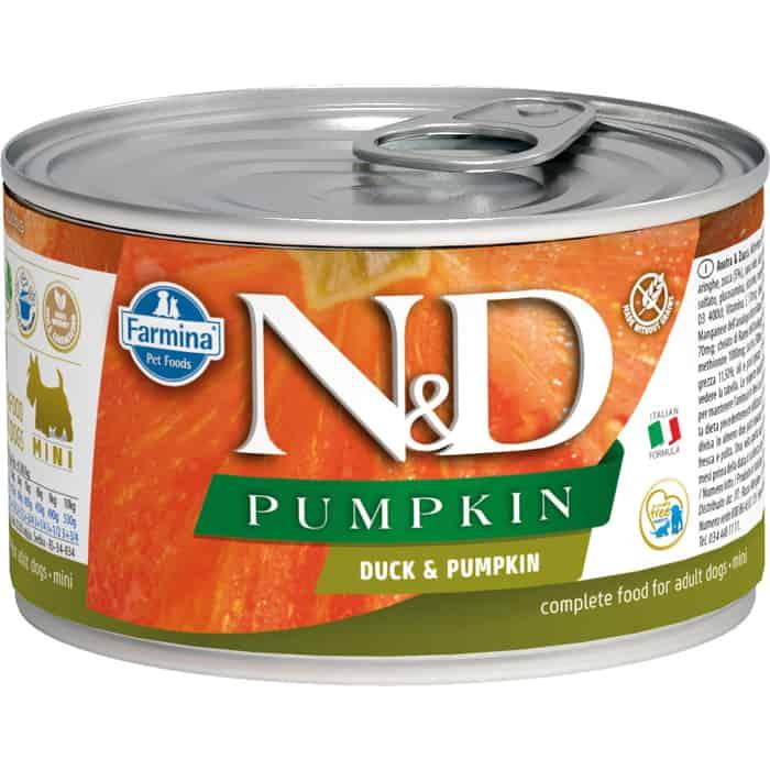 Консервы Farmina N&D Adult Dog Mini Pumpkin & Duck с уткой и тыквой для собак мелких пород 140г