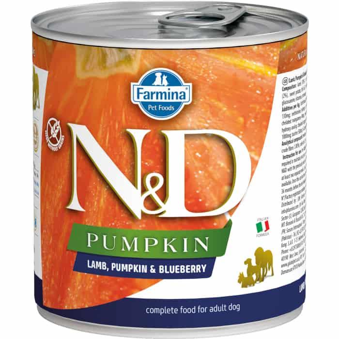 Консервы Farmina N&D Adult Dog Pumpkin, Lamb & Blueberry беззерновой с ягненком и тыквой черникой для взрослых собак 285г