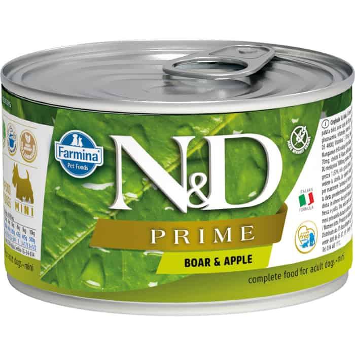 Консервы Farmina N&D Adult Dog Mini GF Boar & Apple беззерновой с мясом кабана и яблоком для взрослых собак мелких пород 140г