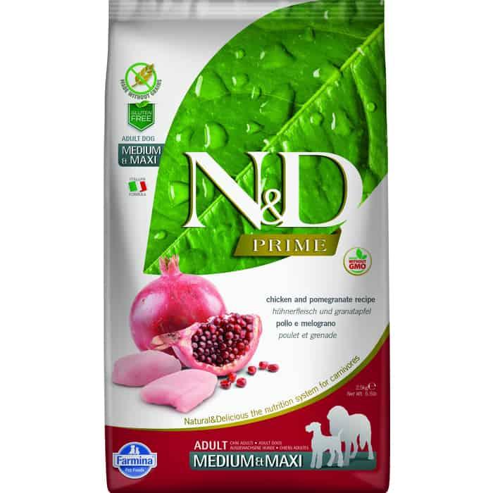 Сухой корм Farmina N&D Adult Dog Medum & Maxi GF Chicken Pomegranate беззерновой с курицей и гранатом для собак средних крупных пород 2,5кг
