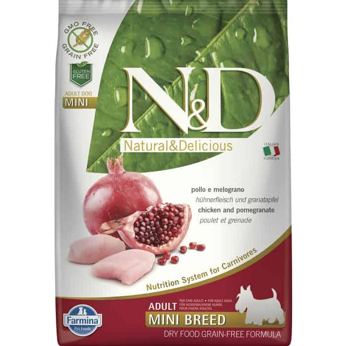 Сухой корм Farmina N&D Adult Dog Mini GF Chicken & Pomegranate беззерновой с курицей и гранатом для собак мелких пород 7кг
