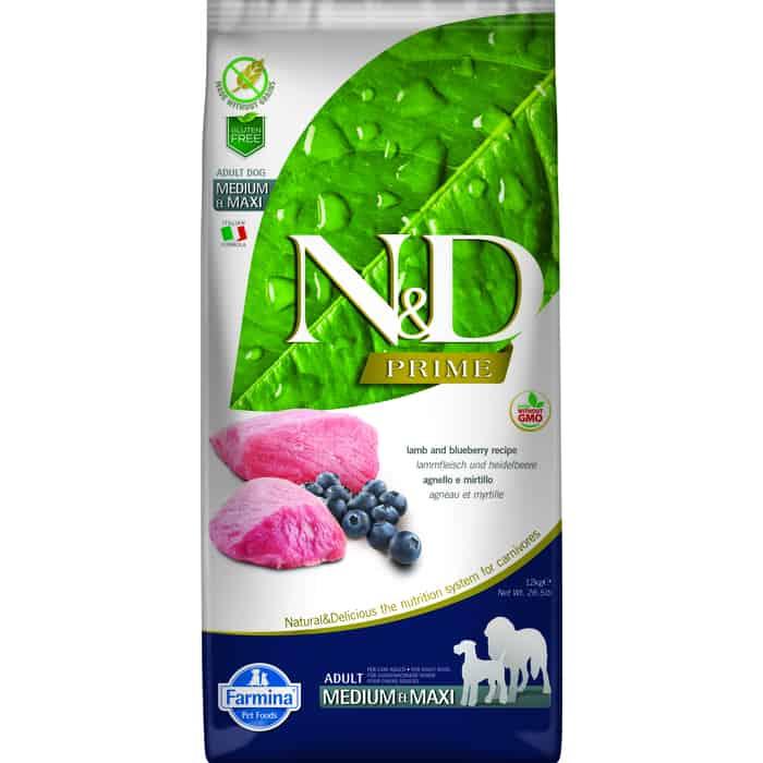 Сухой корм Farmina N&D Adult Dog Medium & Maxi GF Lamb Blueberry беззерновой с ягненком и черникой для собак средних крупных пород 12кг