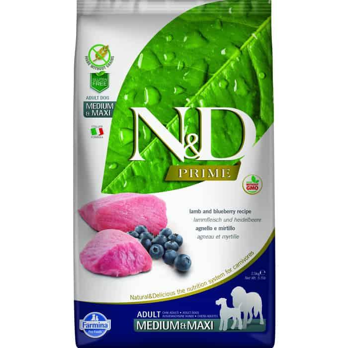Сухой корм Farmina N&D Adult Dog Medium & Maxi GF Lamb Blueberry беззерновой с ягненком и черникой для собак средних крупных пород 2,5кг