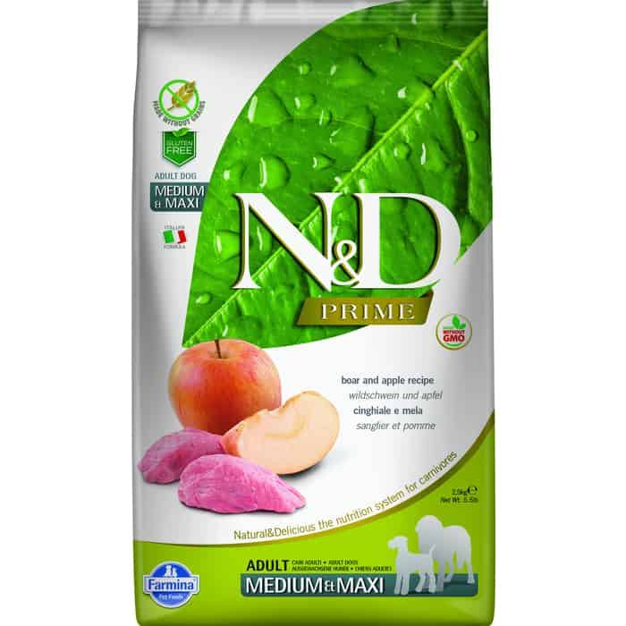 Сухой корм Farmina N&D Adult Dog Medium & Maxi GF Boar Apple беззерновой с мясом кабана и яблоком для собак средних крупных пород 2,5кг