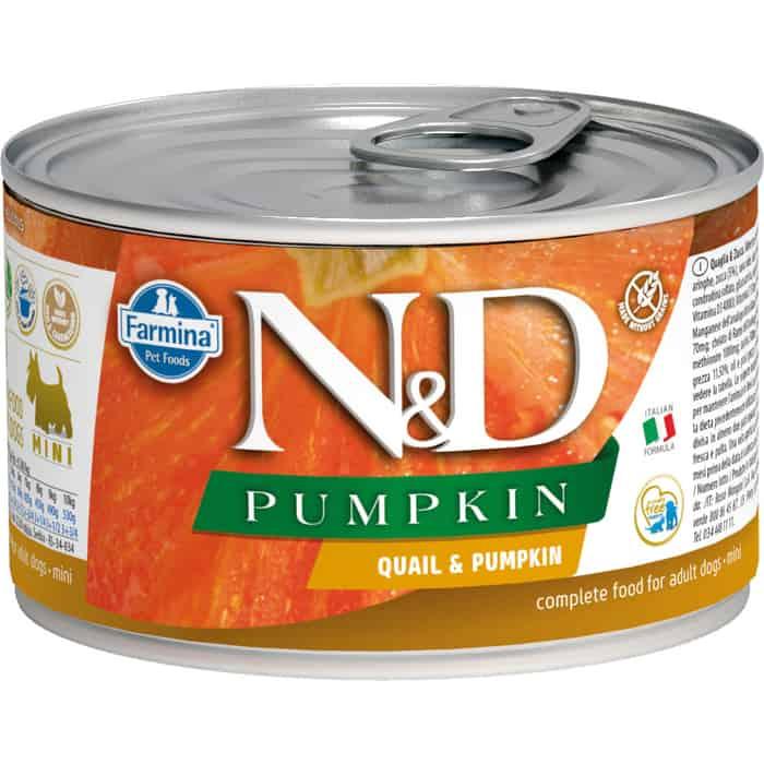 Консервы Farmina N&D Adult Dog Mini GF Quail & Pumpkin с перепелом для взрослых собак 140г