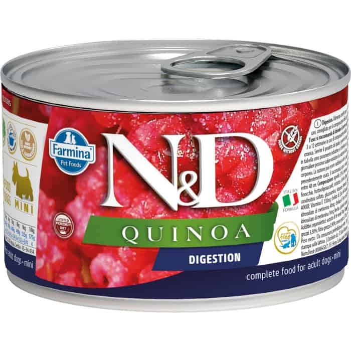 Консервы Farmina N&D Adult Dog Mini Sensetive Quinoa & Lamb с ягненком и киноа для поддержки пищеварения собак мелких пород 140г