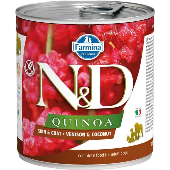 Консервы Farmina N&D Adult Dog Quinoa Skin&Coat Venison & Coconut с олениной, киноа и кокосом для взрослых собак 285г