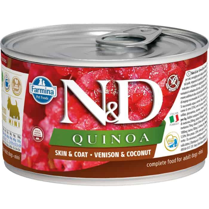 Консервы Farmina N&D Adult Dog Mini Quinoa Skin&Coat Venison & Coconut с олениной, киноа и кокосом для собак мелких пород 140г