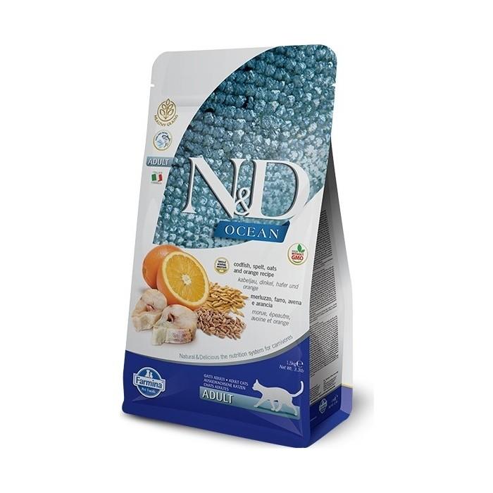 Сухой корм Farmina N&D Adult Cat Ocean Codfish, Spelt, Oats & Orange c треской, спельтой, овсом и апельсином для взрослых кошек 1,5кг
