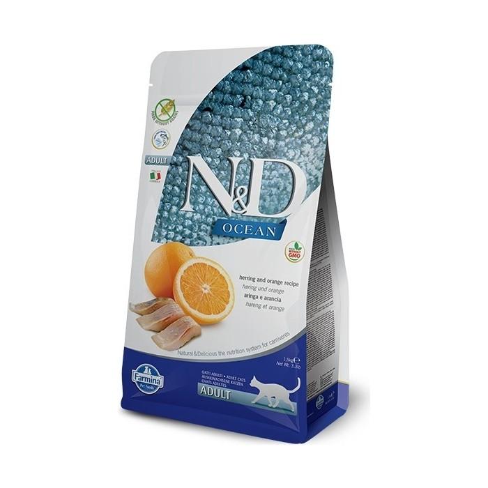 Сухой корм Farmina N&D Adult Cat Ocean Herring & Orange c сельдью и апельсином для взрослых кошек 1,5кг