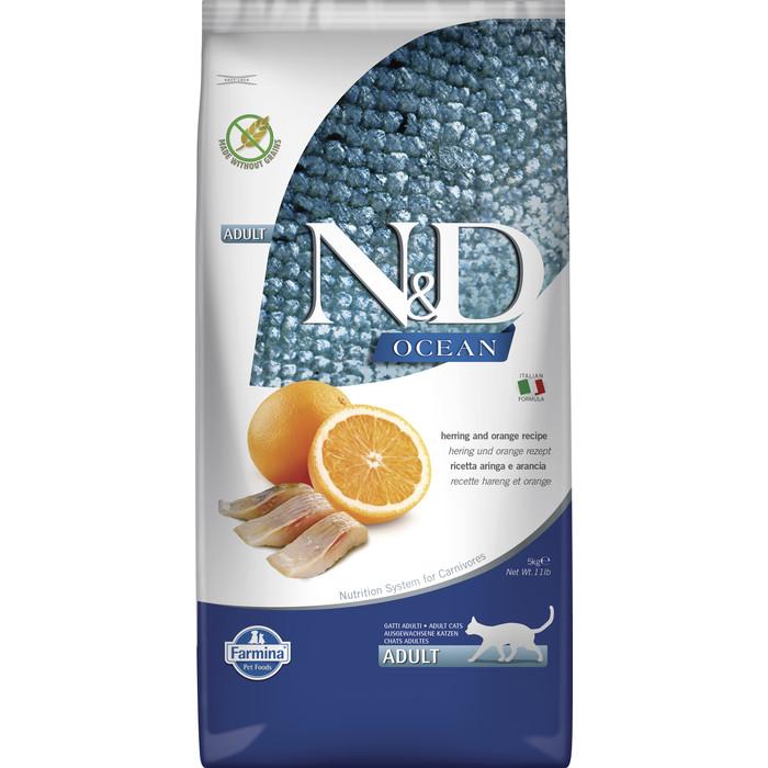 Сухой корм Farmina N&D Adult Cat Ocean Herring & Orange c сельдью и апельсином для взрослых кошек 5кг