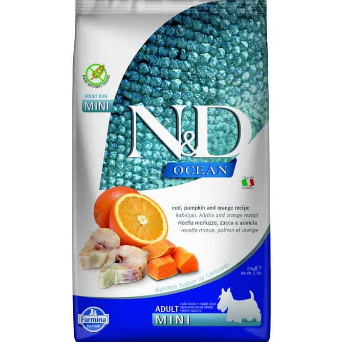 Сухой корм Farmina N&D Adult Dog Mini Ocean Codfish, Pumpkin & Orange треской, тыквой и апельсином для взрослых собак мелких пород 2,5кг