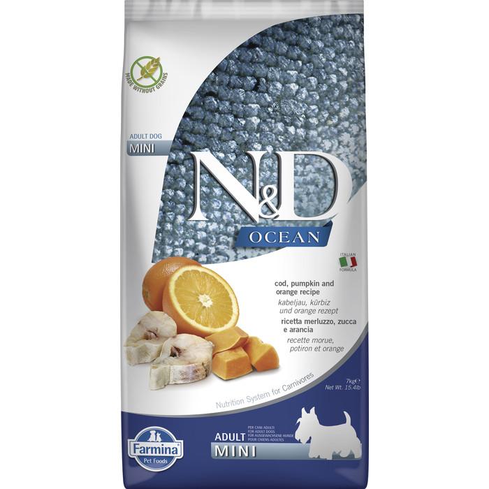 Сухой корм Farmina N&D Adult Dog Mini Ocean Codfish, Pumpkin & Orange треской, тыквой и апельсином для взрослых собак мелких пород 7кг
