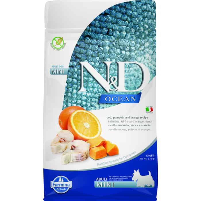 Сухой корм Farmina N&D Adult Dog Mini Ocean Codfish, Pumpkin & Orange треской, тыквой и апельсином для взрослых собак мелких пород 800гр