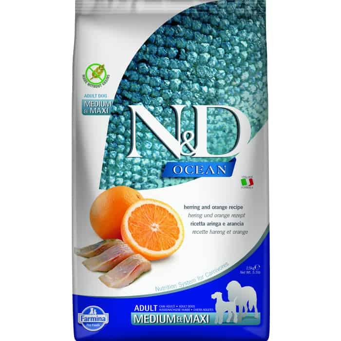 Сухой корм Farmina N&D Adult Dog Meduim & Maxi Ocean Herring Orange с сельдью и апельсином для взрослых собак средних крупных пород 2,5кг